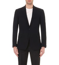 Kilgour Single Breasted Stretch Wool Blazer Navy