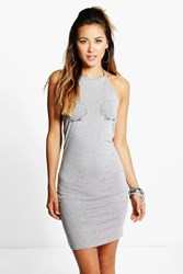 Boohoo Shell Printed Halter Neck Bodycon Dress Grey