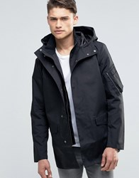 French Connection Hooded Coat In Satin Bonded Cotton Black
