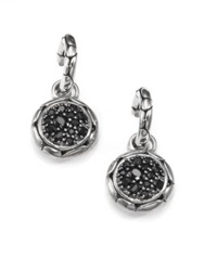 John Hardy Kali Black Sapphire And Sterling Silver Small Hoop Drop Earrings Silver Black