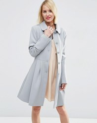 Asos Skater Coat With Panelled Detail Ice Blue