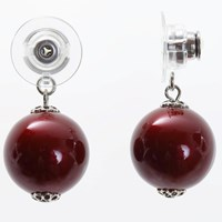Chrysmela Infinity Earring Jacket With Swarovski Crystal Pearls Bordeaux Red Platinum