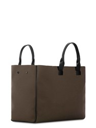 Troubadour Goods Tote In Khaki Canvas And Black Leather Brown