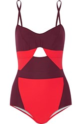 Flagpole Swim Joellen Cutout Two Tone Swimsuit Red