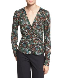 Veronica Beard Ripley Ruched Floral Silk Boho Blouse Black Multicolor Black Multi