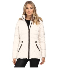 Larry Levine Short Hooded Down With Faux Leather Trim Ivory Women's Coat White