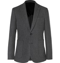 Hardy Amies Charcoal Slim Fit Brushed Cashmere Blazer Gray