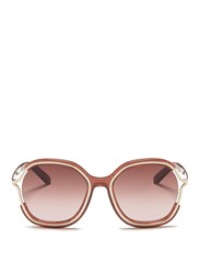 Chloe Metal Rim Acetate Angular Round Sunglasses Red