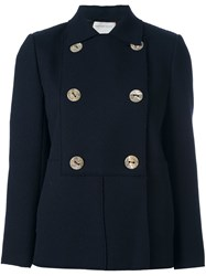 Maison Rabih Kayrouz Double Breasted Fitted Jacket Blue