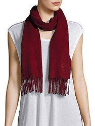 Yves Saint Laurent Wool And Cashmere Fringe Scarf Wine