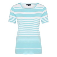 Viyella Pure Cotton Striped Top Turquoise