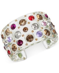 Betsey Johnson Multi Crystal Lucite Cuff Bracelet