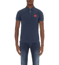 Replay Slim Fit Cotton Pique Polo Shirt Blue