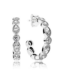 Pandora Design Earrings Sterling Silver And Cubic Zirconia Alluring Hoops