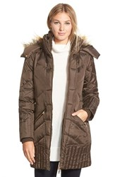 Women's Sam Edelman 'Kate' Faux Fur Trim Hooded Down And Feather Fill Coat
