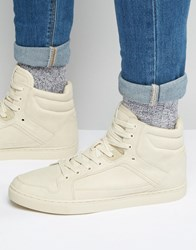 Asos Hi Top Trainers In Stone With Panels Taupe