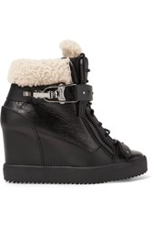 Giuseppe Zanotti Shearling Trimmed Leather Wedge Sneakers Black