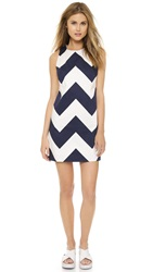 Milly Chevron Shift Dress Navy