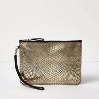 River Island Womens Gold Snake Embossed Leather Pouch Purse