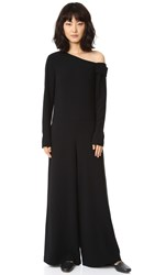 Tibi Asymmetrical Off Shoulder Jumpsuit Black