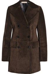 Marni Double Breasted Suede Jacket Dark Brown