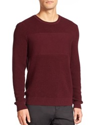 Saks Fifth Avenue Wool And Cotton Crewneck Pullover Sweater Burgundy
