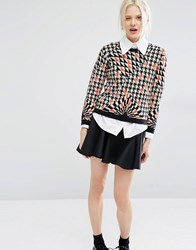 Cheap Monday Houndstooth Jacquard Knit Jumper Orange Multi