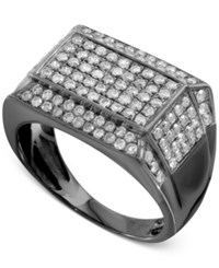 Macy's Men's Gray Diamond Pave Ring 1 1 2 Ct. T.W. In Sterling Silver With Gray Rhodium Plating Gunmetal