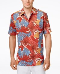 Tommy Bahama Men's Remy Retro Floral Print Short Sleeve Shirt Red Earth