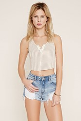 Forever 21 Striped Lace Up Crop Top