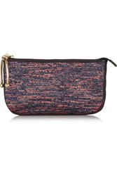 M Missoni Metallic Leather Trimmed Crochet Knit Clutch Blue