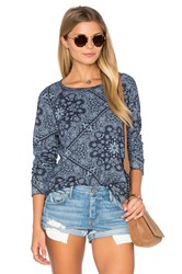Sundry Bandana Pattern Fleece Sweatshirt Navy