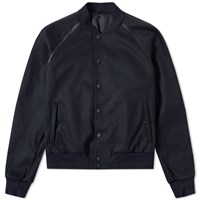 Alexander Mcqueen Leather Trim Bomber Jacket Blue