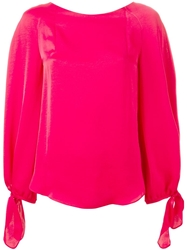 Carven Puff Sleeve Blouse Pink And Purple