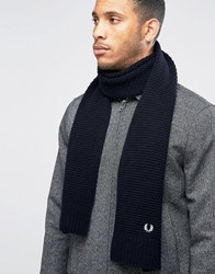 Fred Perry Pique Scarf In Lambswool Navy