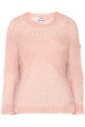 Acne Studios Moxa Open Knit Mohair Blend Sweater Pink