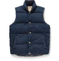 Remi Relief Quilted Washed Denim Gilet Blue