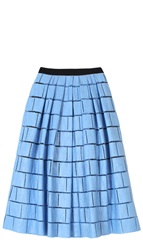 Tibi Raffia Patchwork Full Skirt