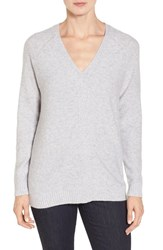 Nordstrom Women's Collection V Neck Cashmere Pullover Grey Clay Heather