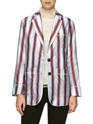 Burberry Cotton And Silk Striped Jacket Light Blue