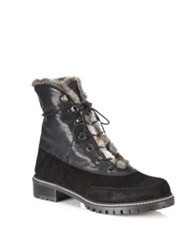 Stuart Weitzman Forester Leather And Faux Fur Booties Nero
