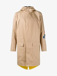 Raf Simons Patch Embellished Classic Parka Coat Beige Yellow Multi Coloured