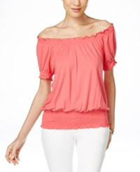 Inc International Concepts Smocked Waist Off Shoulder Peasant Blouse Only At Macy's Polish Coral