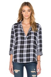 Stateside Double Face Plaid Button Up Black And White