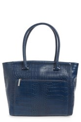 Halogen 'Pine Street' Textured Leather Tote Blue