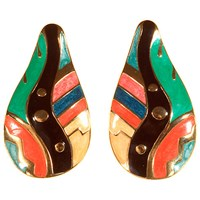 Alice Joseph Vintage 1980S Large Clip On Earrings Black Multi
