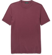 Incotex Pima Cotton Jersey T Shirt Burgundy