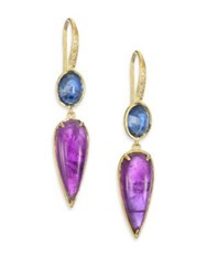 Ila Valencia Blue Sapphire Amethyst Diamond And 14K Yellow Gold Drop Earrings Gold Multi