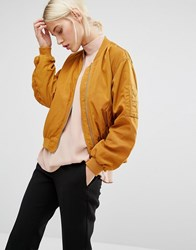 Monki Sateen Bomber Jacket Mustard Orange