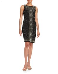 Chetta B Beaded Sheath Dress Black